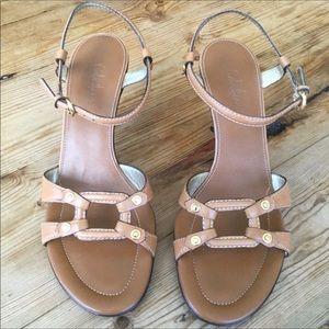 Cole Han Tan Leather Strappy Kitten Heel Sandal